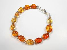 Yellow and Orange Crackled Quartz Silver Plated Bracelet