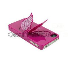Rose Charming Angel Wing Stand Back Case   Screen Protector Set for Apple iPhone 4/4S US$4.69