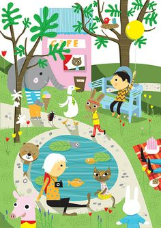 Sunny Park by Nila Aye Pattern Illustration, Children's Book Illustration, Digital Illustration, Character Illustration, Elephant Illustration, Belles Images, Cute Art, Bunt, Grafic Design