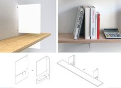 shelf bracket + ultra thin bookend.  I love the simplicity of cutting and bending flat metal.