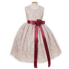 My Fair Little Lady Champagne Lace  Dress - 7 Dress Colors and 23 Sash Colors