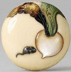 A walrus tusk two-part manjû with a large turnip (kabu), by Shibayama Mitsukazu…