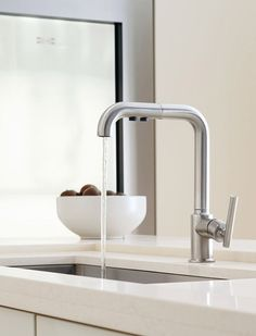 Buy the Kohler Matte Black Direct. Shop for the Kohler Matte Black Purist GPM Single Handle Pullout Spray Kitchen Faucet with ProMotion Technology and save. Ikea Kitchen Faucet, Kitchen Faucet Parts, Pull Out Kitchen Faucet, Bathroom Faucets, Kitchen And Bath, Bathrooms, Condo Kitchen, Mini Kitchen, Kitchen Small