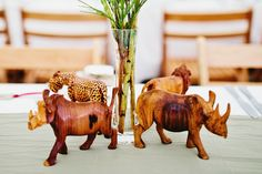 African Weddings || Safari themed rhino centerpieces