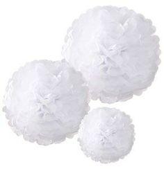 Pom Poms hvit i 3 forskjellige st�rrelser 25cm, 28cm og 38cm. Fine dekorasjoner som festes i taket. Passer i alle festlige anledninger.