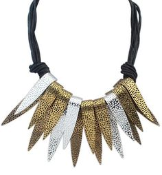 Hammered Spear Fringe Tiered Cord Necklace at Style Moi