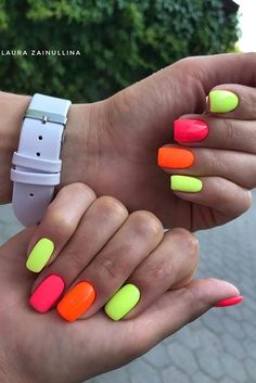 43 Colorful Nail Art Designs That Scream Summer Summery Nails, Bright Summer Acrylic Nails, Best Acrylic Nails, Bright Colored Nails, Nail Colors For Summer, Crazy Summer Nails, Two Color Nails, Bright Acrylic Nails, Summer Nails Neon