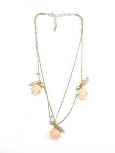 Gold and Light Pink Rose Necklace - $25.00 : FashionCupcake, Designer Clothing, Accessories, and Gifts