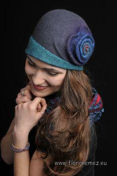 Felt hat, nunofelt scarf  #Felt # Hat Felt Hat, Wool Felt, 1920s Hats, Flapper Hat, Mad Hatter Hats, Winter Hats For Women, Cloche Hat, Elegant Woman, Headpiece