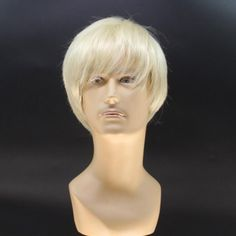 Stylish Short Straight Handsome Light Blonde Men's Heat Resistant Fiber Wig #jewelry, #women, #men, #hats, #watches