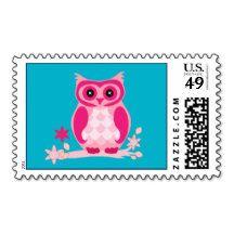 Animated Pink Owl Stamp
