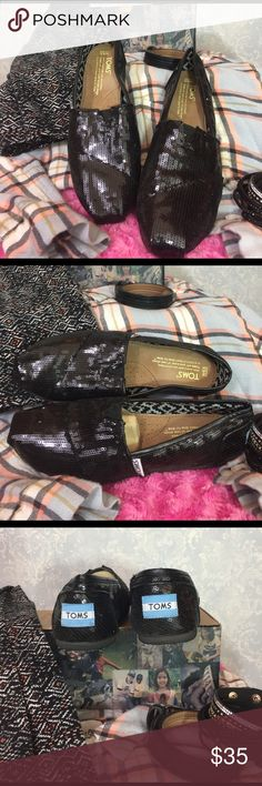 TOMS Black Sequins Black sequined Toms EUC, worn twice. Dust bag and sticker still in box! TOMS Shoes