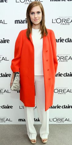 Allison Williams Arrives At Marie Claire's Power Women Lunch--Calvin Klein Collection Fire Double Face Crepe Coat ($2395)