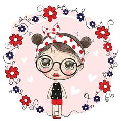 Cute Cartoon Girl with big glasses on a pink background