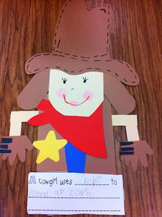 Then they made cowgirls and cowboys and finished the sentence prompt. They had to pick an item of clothing or  tool and tell me what it is used for.