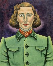 'Self Portrait in Green Jacket' (1936-7) by Rita Angus (1908-1970). Oil on canvas, 470 x 380 mm