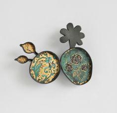 FLOREAT, brooch, 2011, silver, patina, leaf gold, enamel paint, 60 mm  MELITINA BALABIN -FI