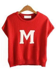Red Sleeveless M Pattern Loose Sweater - Sheinside.com