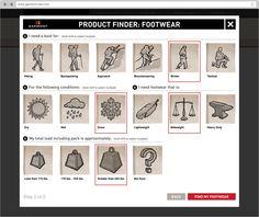 Product finder widget for Garmont   Website design by Studiofluid