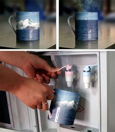Melting Icebergs Cup  The external surface of the cup is printed with a second layer of heat sensitive ink that is revealed when hot water is poured into the cup.