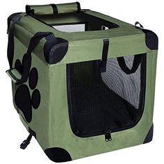 EXPAWLORER Collapsible Foldable Dog Crate, Indoor/Outdoor Pet Home, Deluxe Pet Carrier, Green Medium 24-Inch * Additional details @