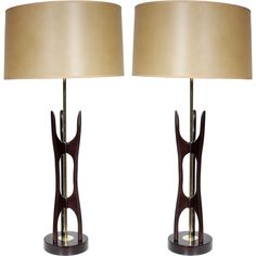 A Pair of Mid Century Kagan Style Wood lamps | From a unique collection of antique and modern table lamps at http://www.1stdibs.com/furniture/lighting/table-lamps/