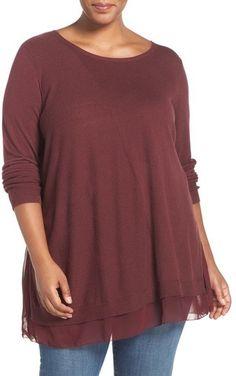 Lucky Brand Woven Hem Tunic Sweater (Plus Size)