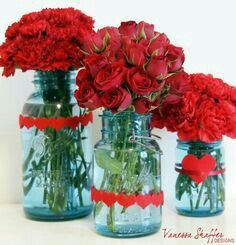 Red Flowers with Aqua Vases Red Yellow Turquoise, Turquoise Cottage, Red Cottage, Red And Teal, Burgundy Flowers, Red Flowers, Pretty Flowers, Aqua Wedding, Summer Wedding