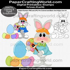 Super Cute Easter Bunny Coloring Eggs. Three versions. B&W for coloring, plain colored and colored with shading, etc.
