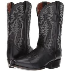 Dan Post Centennial (Black) Cowboy Boots ($155) ❤ liked on Polyvore featuring men's fashion, men's shoes, men's boots, mens square toe boots, mens western cowboy boots, mens black cowboy boots, mens square toe western boots and mens black leather boots