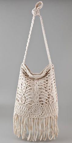 'Missing in Action' crochet shopper handbag in Cream by Sass & Bide