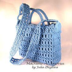 Macrame Bag Sky Dream woman blue lace braided bag by makrame