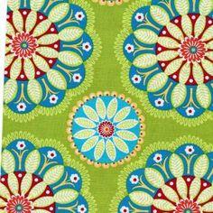 Wunderschöner Baumwollstoff von Michael Miller in herrlich leuchtenden Farben!    Material: 100% Baumwolle    Breite: 110 cm    Farbe: olive/ blau    Pflege: 30°