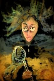 creative process , portrait , of  dorothea tanning surrealist style by valerie beeby
