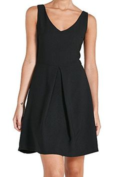 Womens Fashion Sleeveless Classic Solid Color V Neck Fit Flare Dress USA D134 S * Visit the image link more details.  This link participates in Amazon Service LLC Associates Program, a program designed to let participant earn advertising fees by advertising and linking to Amazon.com.