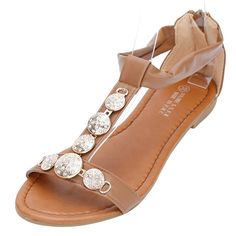 4Chiclife Women's Bohemian Fashion T-Strap Sandals Flats -- Click on the image for additional details.