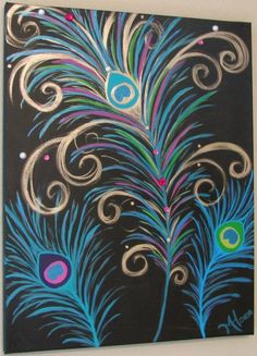 PreTTy As A PeAcOcK - Shimmering Original Metallic Modern Abstract Peacock Feather's Canvas Painting 16 x 20""