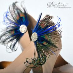 Peacock feather shoe clips, bridal shoe clips, blue shoe clips, wedding shoe clips, rhinestone shoe clips, feather shoe clips - KENZIE