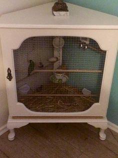 Pet Bird Cage Ideas... Bird aviary from a corner cabinet