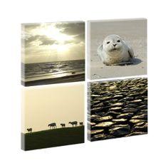 Nordsee4 -Hochwertiger  Kunstdruck auf Leinwand - vierteilig -je 40cm*40cm-