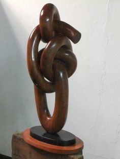 Mupapa wood (found in zambia) Inspirational or Statues #sculpture by #sculptor Charles Chambata titled: 'Knot of Agreement (Carved Wood African Love Knots Sculptures /statues)' #art