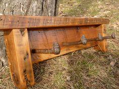 Reclaimed Barnwood 4 hook Railroad Spike hatrack or barn wood coat rack