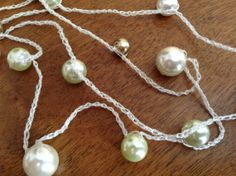 Crocheted Chain Necklace with Creme Gold and by CabochonsByBev, $5.00