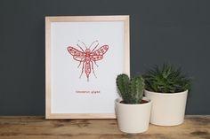 """""""Urocerus gigas"""" ist ein von Hand gefertigter Siebdruck nach eigenem Motiv  auf fein strukturiertem Aquarellpapier.  www.blaurotgrau.blogspot.de"""