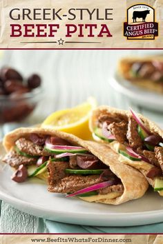 This Tasty Greek-Style Beef Pita Recipe Is Perfect For An Easy Weekday Lunch Or Dinner Made With Certified Angus Beef Sirloin Tip Steaks, Lemon Pepper, Hummus And Whole Wheat Pita, This Simple Beef Dinner Recipe Is A Must Try Photo And Recipe Courtesy Of Sirloin Recipes, Best Beef Recipes, Grilled Steak Recipes, Beef Recipes For Dinner, Barbecue Recipes, Vegetarian Barbecue, Tailgating Recipes, Hamburger Recipes, Vegetarian Cooking