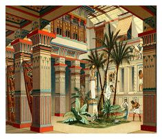 """egypt-museum: """" Ancient Egyptian Palace Interior of an Ancient Egyptian Palace, illustration from 'Le Costume Historique' (History of Costumes), Vol II, by Auguste Racinet (French,. Ancient Egyptian Costume, Ancient Egypt Art, Egyptian Art, Ancient Aliens, Ancient History, European History, Ancient Artifacts, Ancient Greece, Egyptian Fashion"""