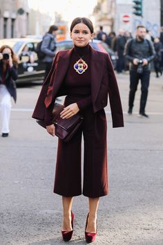 Mira takes burgundy to a whole new level with chic tailored culottes.