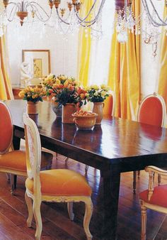 lemon yellow silk curtains, fancy citrus hues, dining room with dark wood table and crystal chandelier Dining Room Furniture, Dining Chairs, Dining Rooms, Yellow Curtains, Silk Curtains, Drapery, Orange Dining Room, Elegant Dining, Mellow Yellow