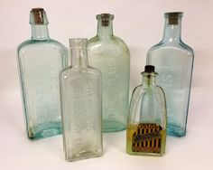 Vintage Bottles Rustic Home Decor Country by CnCVintageFinds
