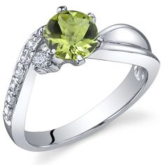Ethereal Curves 0.75 carats Peridot Ring in Sterling Silver Rhodium Nickel Finish Sizes 5 to 9 -- Find out more details by clicking the image : Fashion Jewelry